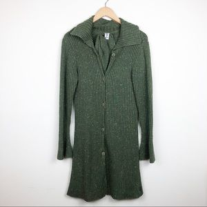 prAna Olive Green Duster Cardigan Tie Waist Medium